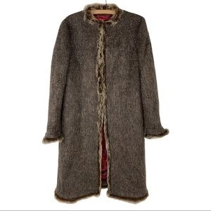 Missoni Full Length Mohair Fur Trim Coat 46